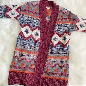 Mossimo Cozy Fall Pattern Aztec Tribal Cardigan